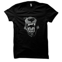 Animal Design Men's Shirt Angry Bear Hand Printed Cotton American Apparel Black T-Shirt