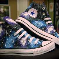 Blue and Purple Galaxy Converse High Tops by kaitlynferruggia
