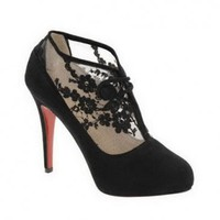 Christian Louboutin Booties Clic Clac Lace Black