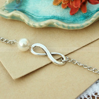 Infinity bracelet - bridesmaid gift infinity pearl bracelet, infinity gift bracelet for BFF, wife and girlfriend