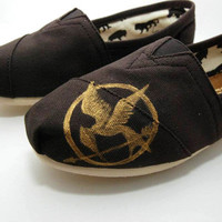 Hunger Games Custom Handpainted TOMs Shoes by KellismCo on Etsy