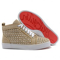Christian Louboutin Louis Flat Spikes High Top Womens Sneakers Apricot