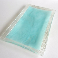 Fused Glass Tray in Aqua and Silver