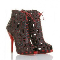 Christian Louboutin Booties Let Me Tell You Ankle Red Black