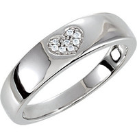 .925 Sterling Silver Cubic Zirconia Love Heart Promise Ring Size 7