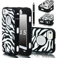 E-LV Deluxe Zebra Print Hard Soft High Impact Armor Case Combo for Apple iPhone 5 5G 5th Generation with Free Front and Back Screen Protector, stylus and E-LV Microfiber Digital Cleaner