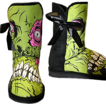 IRON FIST - LADIES ZOMBIE STOMPER MEDIUM FUG BOOT - BLACK/GREEN