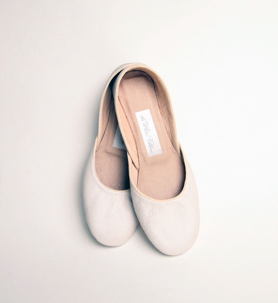 NEW Soft Leather Ballet Flats Ivory Narrow by thewhiteribbon