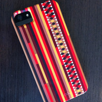 "iPhone 4 Case - ""Confused Stripes"" Graph Drawing -  striped iPhone case, iphone 4 case, autumn colors"