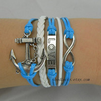 Infinity LOVE lovers bracelet--silver 8 infinity wish,LOVE and anchor leather bracelet,blue and white wax rope leather braided bracelet