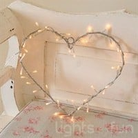 Metal Heart Wreath with 40 Clear Fairy Lights - Lights 4 Fun
