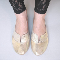 Soft Gold Leather Handmade Oxfords by elehandmade on Etsy