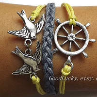 Simple fashion silver rudder and bird bracelets gray and yellow Wax rope braided Bracelet