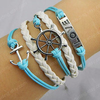 Silver anchor  And  Rudder love bracelet white leather bracelet Friendship Bracelet loves bracelet