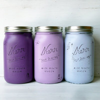 Mother&#x27;s Day / Purple Ombre / Painted and Distressed Mason Jars / Vase