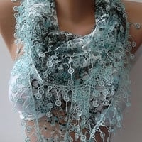 Elegant and feminine scarf  Lace scarf blue scarf