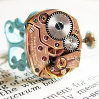 Steampunk ring Vintage17 jeweled watch by InsomniaStudios on Etsy
