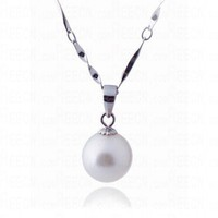 9-10mm White Simple Dorp Pearl Pandent Necklace