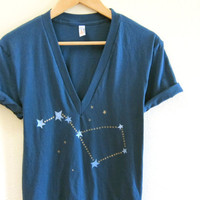 Big Dipper Hand STENCILED Deep V Neck Tunic Tee in Deep Sea Blue and Gold - XS S M L XL 2XL
