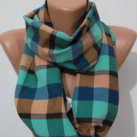 UNISEX  Tube Scarf, Infinity Scarf Loop Scarf - It made with good quality COTTON fabric Plaid Circle Scarf Fall Fashion