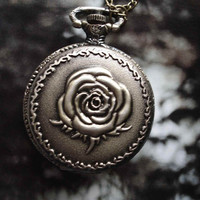 Rose Flower Bronze Pocket Watch Pendant by Azuraccessories on Etsy