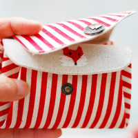 Triple Pockets Fox embroidery and Red Stripes Coin/Card Purse