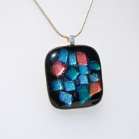 Pendant mosaic dichroic fused glass by GeckoGlassDesign on Etsy