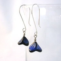 Blue Bell Flower Glass Dangle Earrings Argentium Sterling Silver