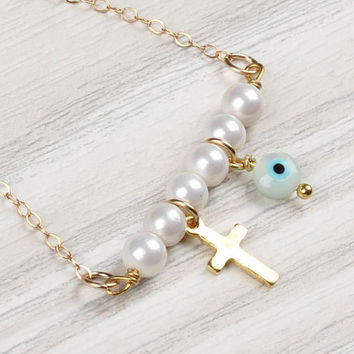 """Evil eye necklace, pearl necklace, gold cross necklace, tiny pearl necklace, gold filled necklace, bridesmaid jewelry, cross pendant, """"Iasis"""