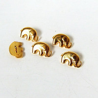 2 Gold Lucky Elephant Buttons