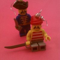 Lego Pirate Earrings w/ Swords by Missconstrued on Etsy