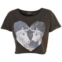 Unicorn Heart Crop Tee - Jersey Tops - Apparel - Topshop USA