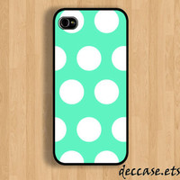 iPhone case IPHONE 5 CASE iPhone 4 case iPhone 4S case Mint Polka DotHard Plastic Case Rubber Case