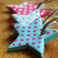 Star Gift Tag Polymer Clay Gift Tag Set of by bluebellsandbunting