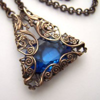 Vintage Filigree Necklace in Sapphire by 1ofmykind on Etsy