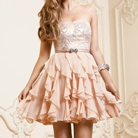 Sweet A-line short Pale Peach Frills Prom/Graduation Dresses
