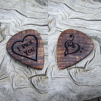 Hawaiian Koa Wood Guitar Pick - 2-Sided Design - Handmade Laser Engraved Premium Guitar Pick