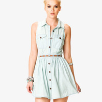 Stonewashed Denim Shirtdress w/ Belt | FOREVER 21 - 2037725933
