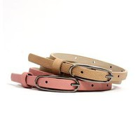 2 PACK KHAKI AND DUSTY ROSE SKINNY BELTS
