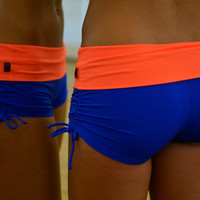 Shorts blueorange for Bikram yoga by Siluetmode on Etsy