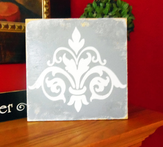 Shabby Chic Wood Sign Damask in Gray by 13pumpkins on Etsy