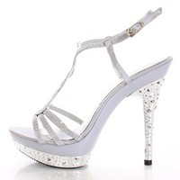 Silver Beaded Strappy Carved Heels