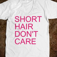 Short Hair Don't Care Unisex V-Neck Tee