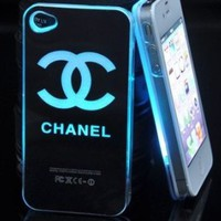 Smiling Deals Flash Light Case Cover for Apple iPhone 5 LED LCD Color Change - Black - Chanel + a Screen Protector and a Stylus As Gifts