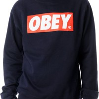 Obey Box Logo Navy Crew Neck Sweatshirt