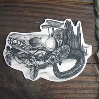 Temporary Tattoo Fox Skull and Snake by BurrowingHome on Etsy