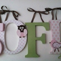 Owl and bird themed nursery letters in pink and green