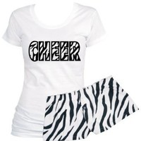 2 Piece Set: White Scoop Neck Shirt Zebra Cheer with Zebra Short Shorts (Medium, White/Black)