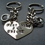 Partners in Crime Keychains - Hand Stamped Split Heart Set of Key Chains