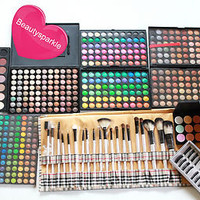 PRO Makeup artist PALETTES kit lot train 168 120 eyeshadow 28 blushes brush LIP